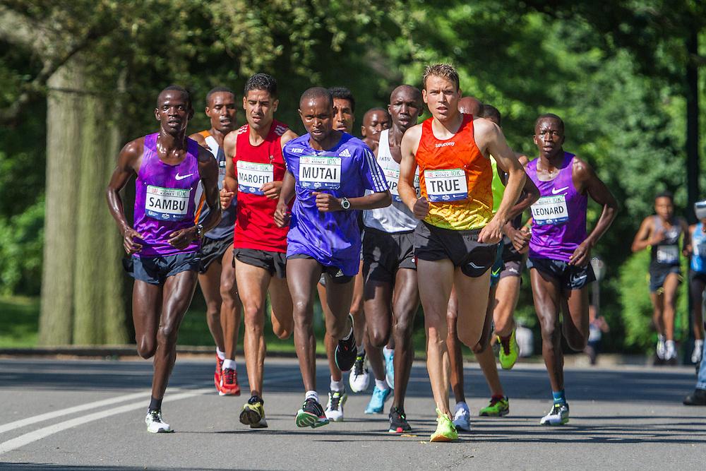 UAE Healthy Kidney 10K, Geoffrey Mutai leads men early in race