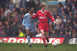 COVENTRY, ENGLAND - Saturday, April 6, 1996: Liverpool's Steve McManaman in action against Coventry City's Peter Ndlovu during the Premiership match at Highfield Road. Coventry won 1-0. (Pic by David Rawcliffe/Propaganda)