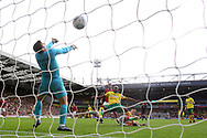 Cameron Jerome of Norwich acrobatically puts the ball in the net but the goal is disallowed during the Sky Bet Championship match at Carrow Road, Norwich<br /> Picture by Paul Chesterton/Focus Images Ltd +44 7904 640267<br /> 23/09/2017