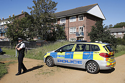 © Licensed to London News Pictures. 22/06/2019. London, UK. The scene in Feltham, West London where a murder investigation has been launched after a man, believed to be in his 20s, was found suffering form critical injuries, following reports of a shooting. The man later died at the scene. Photo credit: Peter Macdiarmid/LNP