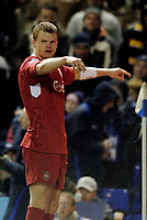 Photo: Glyn Thomas.<br />Birmingham City v Liverpool. The FA Cup. 21/03/2006.<br /> Liverpool's John Arne Riise celebrates after scoring his side's brilliant fifth goal.