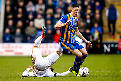 James Bolton of Shrewsbury Town goes past Morgan Gibbs-White of Wolverhampton Wanderers  - Mandatory by-line: Robbie Stephenson/JMP - 26/01/2019 - FOOTBALL - Montgomery Waters Meadow - Shrewsbury, England - Shrewsbury Town v Wolverhampton Wanderers - Emirates FA Cup fourth round