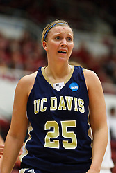 March 19, 2011; Stanford, CA, USA; UC Davis Aggies guard/forward Kasey Riecks (25) before a free throw against the Stanford Cardinal during the first half of the first round of the 2011 NCAA women's basketball tournament at Maples Pavilion. Stanford defeated UC Davis 86-59.