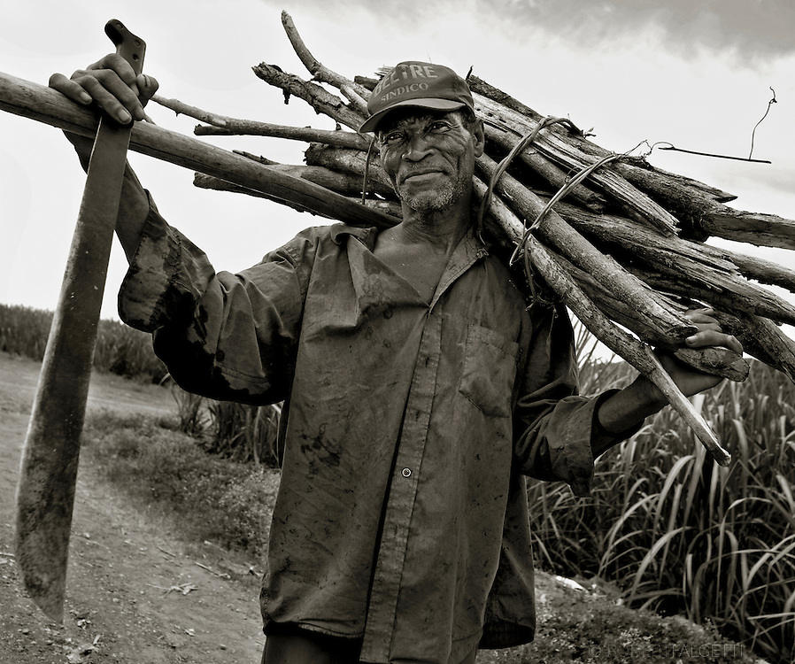 Batey 50, Dominican Republic- A Haitian sugarcane cutter in Batey 50 carries a bundle of cut cane. The workers earn an average of less than $3 per day and are housed in worker communities known as bateyes. These small villages often have deplorable and unsanitary <br />