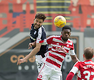 Dundee&rsquo;s Kostadin Gadzhalov outjumps Hamilton&rsquo;s Rakish Bingham- Hamilton Academical v Dundee in the Ladbrokes Scottish Premiership at the SuperSeal Stadium, Hamilton, Photo: David Young<br /> <br />  - &copy; David Young - www.davidyoungphoto.co.uk - email: davidyoungphoto@gmail.com
