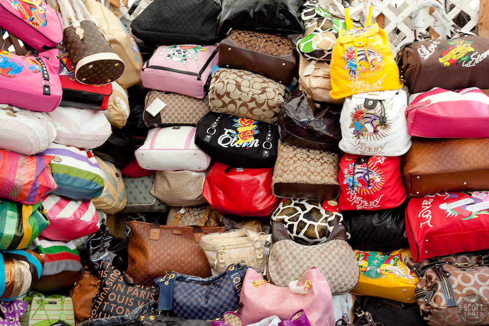 Display of purses for sale on Prince George Wharf, Nassau, Bahamas