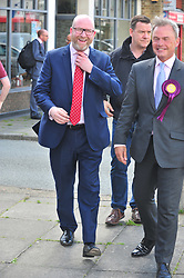 &copy; Licensed to London News Pictures. 07/06/2017<br /> UKIP Leader Paul Nuttall in Corrington,Essex this afternoon on a walkabout on the last day of the election campaign for 2017.<br /> Photo credit: Grant Falvey/LNP