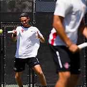 21 April 2017: The San Diego State men's tennis team hosts Santa Clara for senior day. <br /> www.sdsuaztecphotos.com