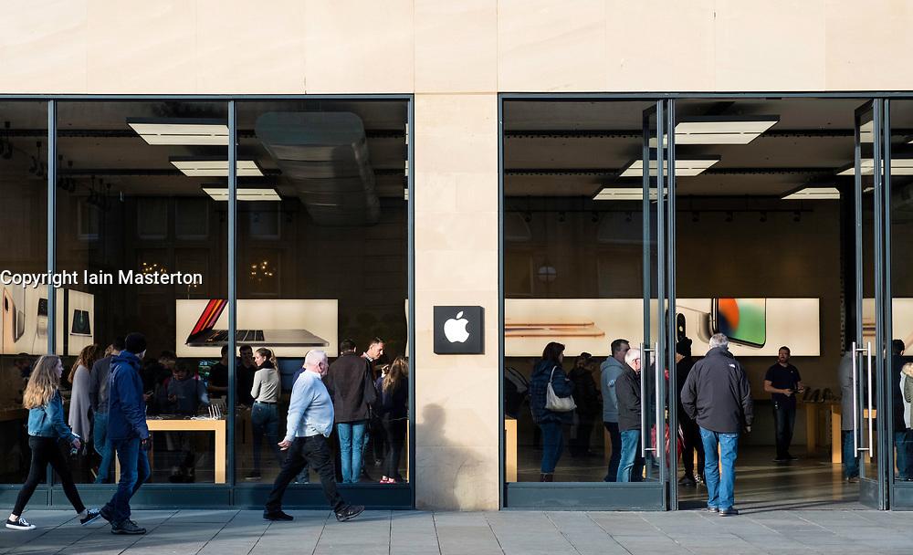 Exterior of Apple Store on Princes Street in Edinburgh, Scotland, United Kingdom.