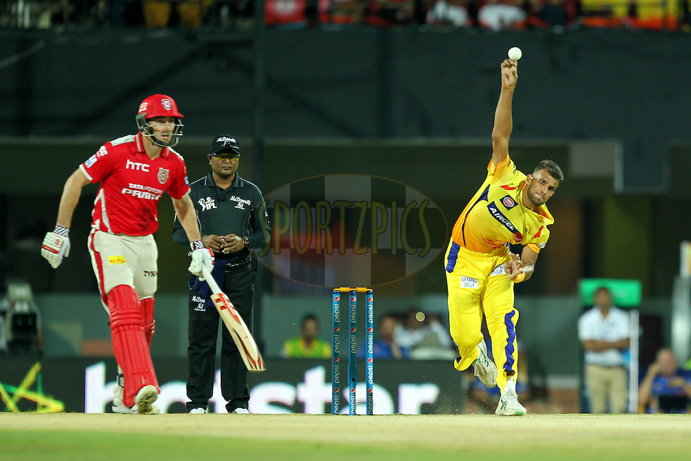 Ishwar Pandey of Chennai Super Kings bowls during match 24 of the Pepsi IPL 2015 (Indian Premier League) between The Chennai Superkings and The Kings XI Punjab held at the M. A. Chidambaram Stadium, Chennai Stadium in Chennai, India on the 25th April 2015.Photo by:  Prashant Bhoot / SPORTZPICS / IPL