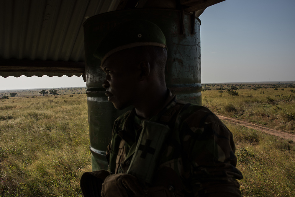 A ranger watches from the PK15 outpost in Garamba National Park on November 26, 2017.