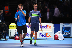 November 18, 2017 - London, England, United Kingdom - Henri Kontinen of Finland and John Peers of Australia celebrate their win over Jamie Murray of Great Britain and Bruno Soares of Brazil in the semi finals during day seven of the Nitto ATP World Tour Finals tennis at the O2 Arena on November 18, 2017 in London, England. (Credit Image: © Alberto Pezzali/NurPhoto via ZUMA Press)