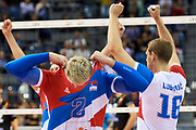 Poland, Krakow - 2017 September 03: (right) Uros Kovacevic from Serbia celebrates with team mates victory for Serbia team while Third Place match between Belgium and Serbia during LOTTO EUROVOLLEY POLAND 2017 - European Championships in volleyball  at Tauron Arena on September 03, 2017 in Krakow, Poland.<br /> <br /> Mandatory credit:<br /> Photo by &copy; Adam Nurkiewicz<br /> <br /> Adam Nurkiewicz declares that he has no rights to the image of people at the photographs of his authorship.<br /> <br /> Picture also available in RAW (NEF) or TIFF format on special request.<br /> <br /> Any editorial, commercial or promotional use requires written permission from the author of image.