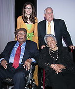 Ernest Gaines, Miranda Restovic, Leah Chase, and Walter Isaacson at the Louisiana Endowment for the Humanities Bright Lights Awards Dinner at Popp Fountain in City Park of New Orleans on May 10, 2018
