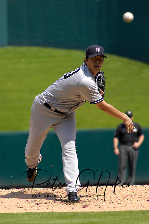 September 9, 2007 - Kansas City, MO..New York Yankees pitcher Chien-Ming Wang delivers a pitch in a game against the Kansas City Royals at Kauffman Stadium in Kansas City, Missouri on September 9, 2007....Photo by Peter G. Aiken/Cal Sport Media