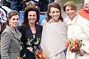 De koninklijke familie is in Zwolle voor de viering van Koningsdag. /// The royal family is in Zwolle for the celebration of King's Day.<br /> <br /> Op de foto / On the photo:  Prinses Annette , prinses Marilene , prinses Marilen en prinses Anita