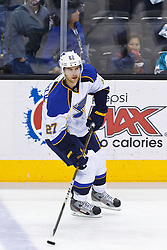 April 16, 2012; San Jose, CA, USA; St. Louis Blues defenseman Alex Pietrangelo (27) warms up before game three of the 2012 Western Conference quarterfinals against the San Jose Sharks at HP Pavilion.  St. Louis defeated San Jose 4-3. Mandatory Credit: Jason O. Watson-US PRESSWIRE