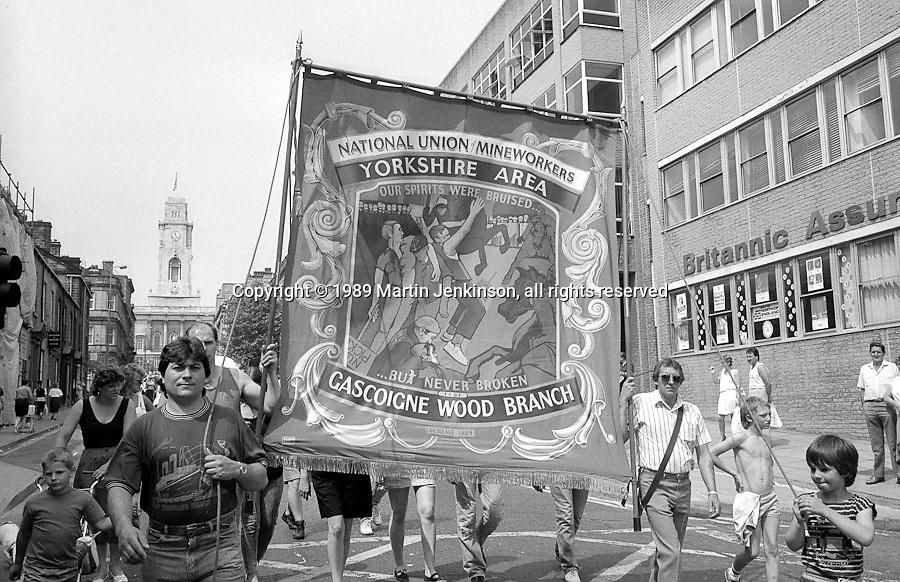 Gascoigne Wood Branch banner. NUM Centenary Demonstration and Gala, Barnsley.