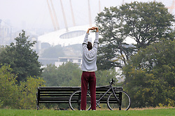 &copy; Licensed to London News Pictures. 11/09/2014<br /> Morning workout in Greenwich.<br /> Autumn Morning Greenwich Park,Greenwich,London. (11.09.2014)<br /> (Byline:Grant Falvey/LNP)