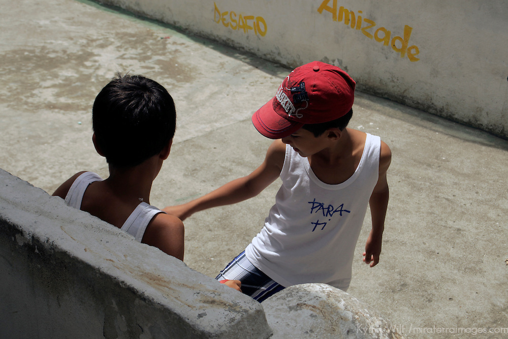 South America, Brazil. Rio de Janiero. Boys of Para Ti school in Favela of Vila Canoas.