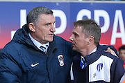 Coventry City Manager Tony Mowbray  and Colchester United Manager Kevin Keen  during the Sky Bet League 1 match between Coventry City and Colchester United at the Ricoh Arena, Coventry, England on 29 March 2016. Photo by Simon Davies.