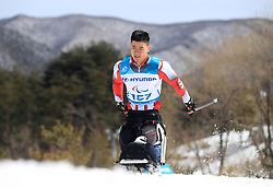 China's Feixiang Huang competes in the Men's 7.5km, Sitting Cross Country Skiing, at the Alpensia Biathlon Centre during day eight of the PyeongChang 2018 Winter Paralympics in South Korea