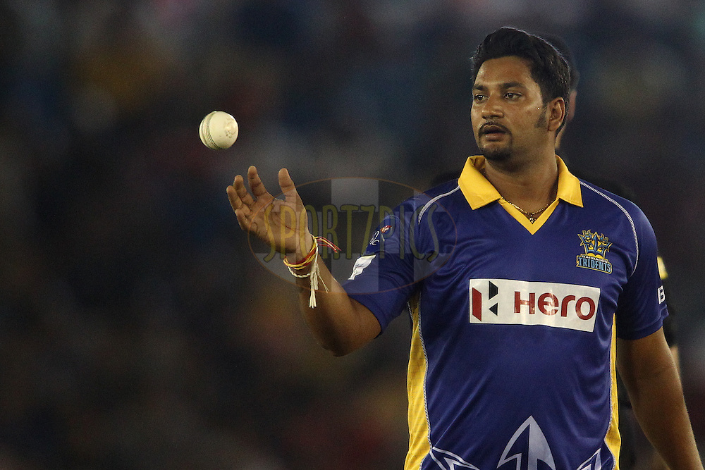 Ravi Rampaul of the Barbados Tridents during match 5 of the Oppo Champions League Twenty20 between the Kings XI Punjab and the Barbados Tridents held at the Punjab Cricket Association Stadium, Mohali, India on the 20th September 2014<br /> <br /> Photo by:  Shaun Roy / Sportzpics/ CLT20<br /> <br /> <br /> Image use is subject to the terms and conditions as laid out by the BCCI/ CLT20.  The terms and conditions can be downloaded here:<br /> <br /> http://sportzpics.photoshelter.com/gallery/CLT20-Image-Terms-and-Conditions-2014/G0000IfNJn535VPU/C0000QhhKadWcjYs