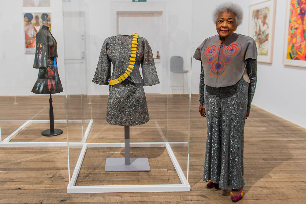 Jae Jarrell with her Revolutionary Suit, remade 2010 - Soul of a Nation: Art in the Age of Black Power, Tate Modern's new exhibition exploring what it meant to be a Black artist during the Civil Rights movement.  The exhibition is at Tate Modern from 12 July – 22 October 2017.