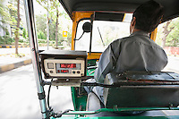 Back view of an auto rickshaw driver on the street, New Delhi, India