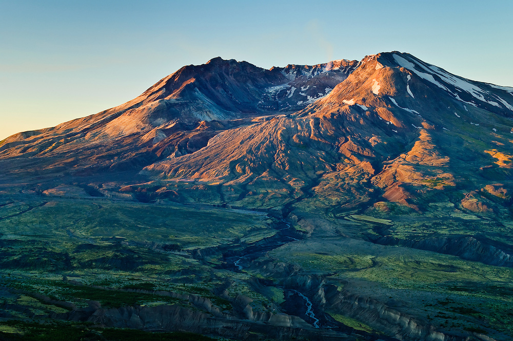 Mount Saint Helens at sunrise from Boundary Trail at Johnston Ridge Visitor Center; Mount St. Helens National Volcanic Monument, Washington.