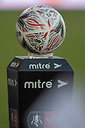 The Official FA Cup Mitre match ball on pedestal during the The FA Cup 5th round match between Doncaster Rovers and Crystal Palace at the Keepmoat Stadium, Doncaster, England on 17 February 2019.