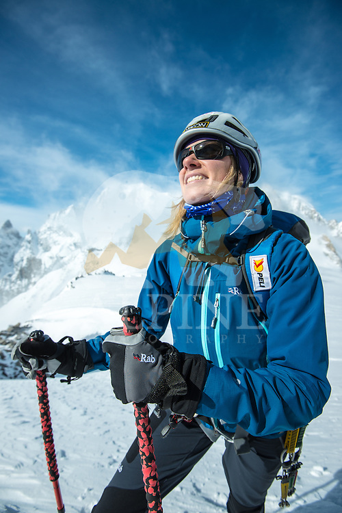 Squash Falconer, a female British adventurer, as seen resting after a long approach to Aiguille Marbrees on a cold Winter day in Mont Blanc Massif.