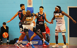 Robert Crawford of Worcester Wolves is challenged by Lewis Champion of Bristol Flyers - Photo mandatory by-line: Nizaam Jones/JMP- 24/11/2018 - BASKETBALL - SGS Wise Arena - Bristol, England - Bristol Flyers v Worcester Wolves - British Basketball League Championship