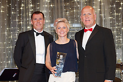 CARDIFF, WALES - Monday, October 8, 2012: Wales' Jessica Fishlock receives the player of the year award from manager Jarmo Matikainen and Simon Read (Copthorne Hotels) during the FAW Player of the Year Awards Dinner at the National Museum Cardiff. (Pic by David Rawcliffe/Propaganda)
