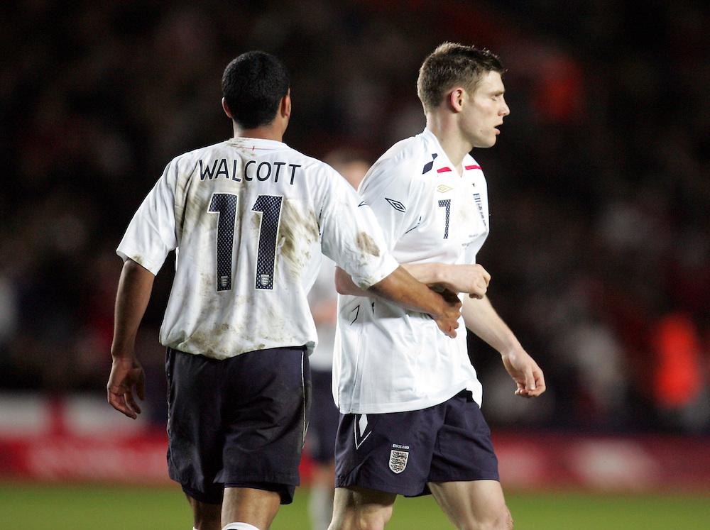 Theo Walcott shows James Milner some affection. England v Republic of Ireland, Uefa Under-21 Championship Qualifier, Tuesday 5th February 2008, St Marys, Southampton.