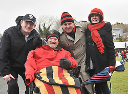 John Durkan, Joe Joe Gannon with Pat and Carmel Scahill pictured supporting Westport United at the Sportspark Westport during the FAI junior cup match against Freebooters FC.<br /> Pic Conor McKeown