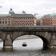 One of many bridges connecting the mainlined with the islands in Stockholm. Stockholm, the capital of Sweden, built on 14 islands and the most populous city in Scandinavia.<br /> Jose More Photography