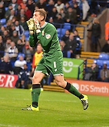 Bristol city goalkeeper, Frank Fielding oragnises the defence after a close call during the Sky Bet Championship match between Bolton Wanderers and Bristol City at the Macron Stadium, Bolton, England on 7 November 2015. Photo by Mark Pollitt.