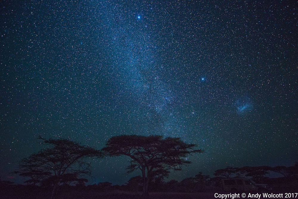 The Milky Way over Tanzania - January, 2017<br />      The Large Megallanic Cloud is visible in the lower left side of the image.  The Megallanic Clouds, only visible from the Southern Hemisphere, are two dwarf galaxies orbiting the Milky Way.