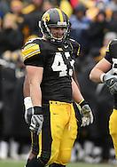 15 NOVEMBER 2008: Iowa linebacker Pat Angerer (43) in the second half of an NCAA college football game against Purdue, at Kinnick Stadium in Iowa City, Iowa on Saturday Nov. 15, 2008. Iowa beat Purdue 22-17.