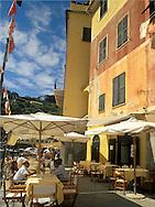 Outdoor restaurant in Portofino Harbour<br /> Liguria, Italy