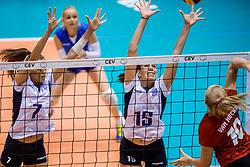 27-08-2017 NED: World Qualifications Greece - Belgium, Rotterdam<br /> Belgi&euml; verslaat Griekenland met 3-0 / Georgia Lamprousi #7 of Greece, Alexia Kalantaridou #15 of Greece, Lise Van Hecke #10 of Belgium