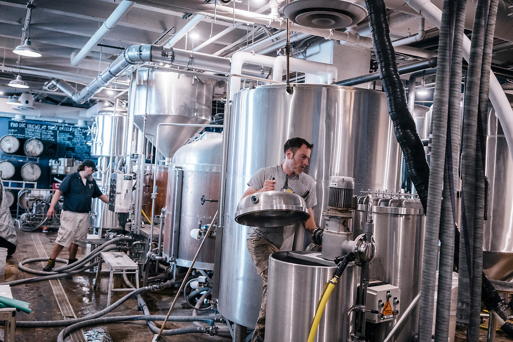 Kevin Corcoran, a brewer at Denizens Brewing Co. cleans a filter machine at their facility in Silver Spring, Md. on April 5, 2017. Recent back-to-back vetoes of $15 minimum-wage bills in the liberal Maryland bastions of Baltimore and Montgomery County could signal a limit to such efforts. CREDIT: Greg Kahn / GRAIN for the Wall Street Journal MINWAGE