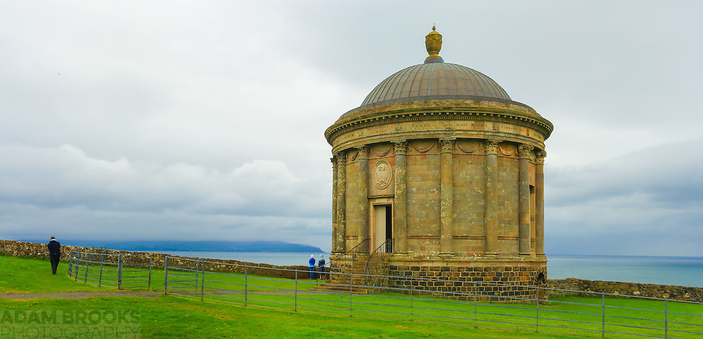 Mussenden Temple with a cloud shrouded Inishowen Peninsula in the background.