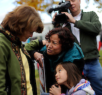ANCHORAGE, AK- October 3:  Senator  Murkowski greets supporters at a  Alaskans for Lisa Rally.... Senator Lisa Murkowski (R-AK) campaigns as a write-in candidate to be re elected to Alaska's Senate seat in Anchorage, Alaska, Sunday, October 3, 2010. Joe Miller narrowly defeated incumbent Senator Lisa Murkowski in the republican primary. (Melina Mara/The Washington Post)