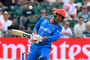 Mohammad Nabi of Afghanistan sways out of the path of a short ball from Mitchell Starc of Australia during the ICC Cricket World Cup 2019 match between Afghanistan and Australia at the Bristol County Ground, Bristol, United Kingdom on 1 June 2019.