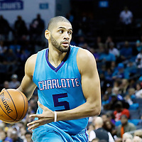 01 November 2015: Charlotte Hornets forward Nicolas Batum (5) drives during the Atlanta Hawks 94-92 victory over the Charlotte Hornets, at the Time Warner Cable Arena, in Charlotte, North Carolina, USA.