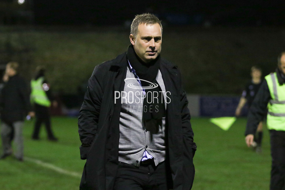 Dagenham Manager Wayne Burnett after the The FA Cup 2nd round replay match between Whitehawk FC and Dagenham and Redbridge at The Enclosed Ground, Whitehawk, Brighton, United Kingdom on 16 December 2015. Photo by Ellie Hoad.