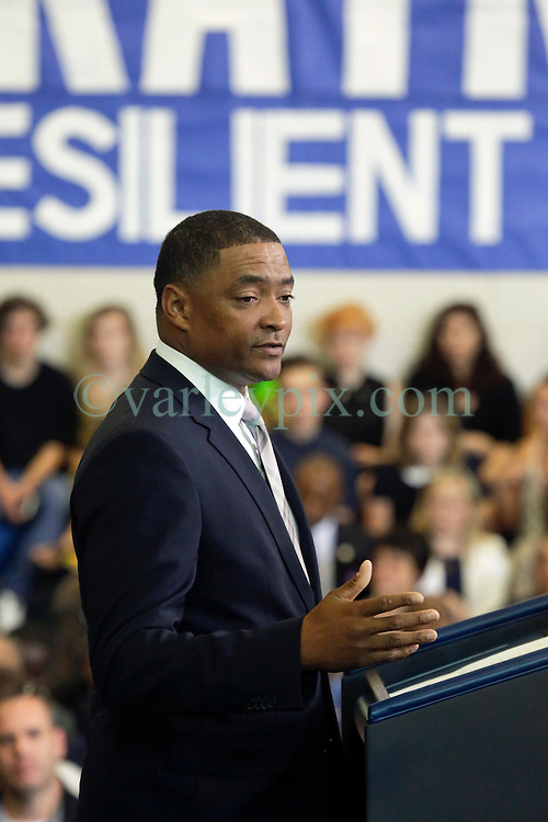 27 August 2015. Andrew P. Sanchez & Copelin-Byrd Multi Service Center, Lower 9th Ward, New Orleans, Louisiana.<br /> Congressman Cedric Richmond addresses the crowd ahead of President Barack Obama. <br /> Photo credit©; Charlie Varley/varleypix.com.