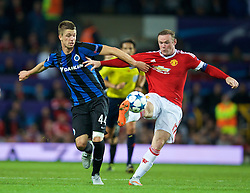 MANCHESTER, ENGLAND - Tuesday, August 18, 2015: Manchester United's captain Wayne Rooney in action against Club Brugge's Brandon Mechele during the UEFA Champions League Play-Off Round 1st Leg match at Old Trafford. (Pic by David Rawcliffe/Propaganda)